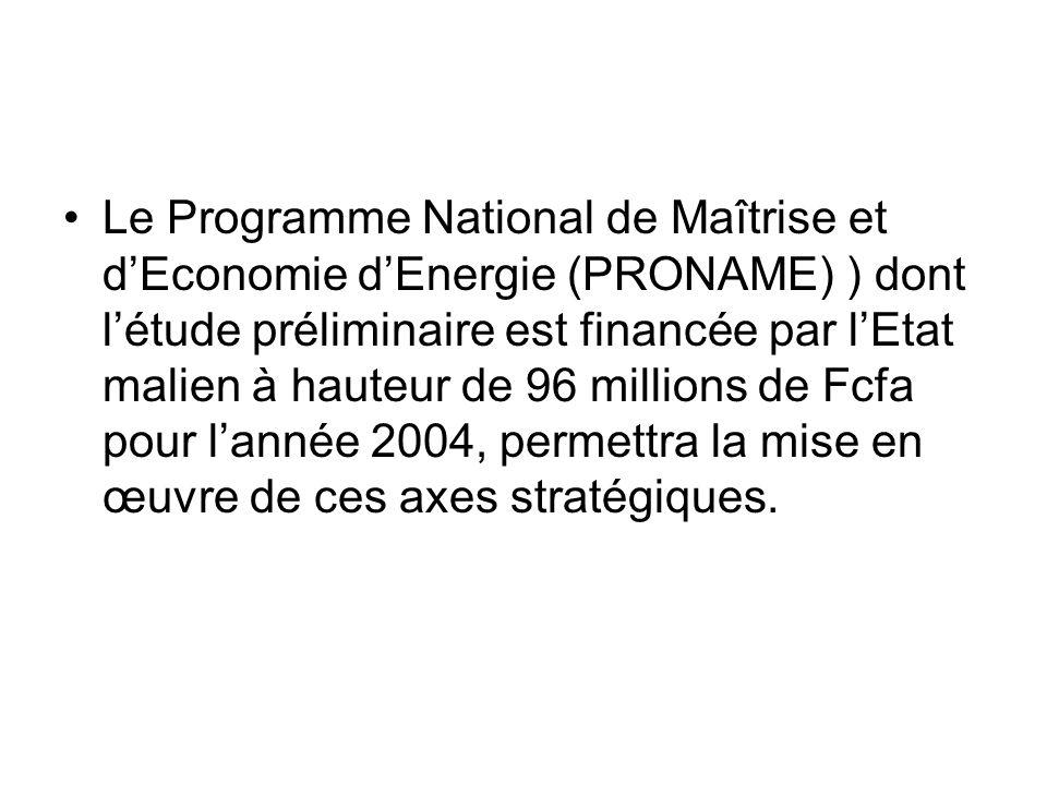 Le Programme National de Maîtrise et d'Economie d'Energie (PRONAME) ) dont l'étude préliminaire est financée par l'Etat malien à hauteur de 96 millions de Fcfa pour l'année 2004, permettra la mise en œuvre de ces axes stratégiques.