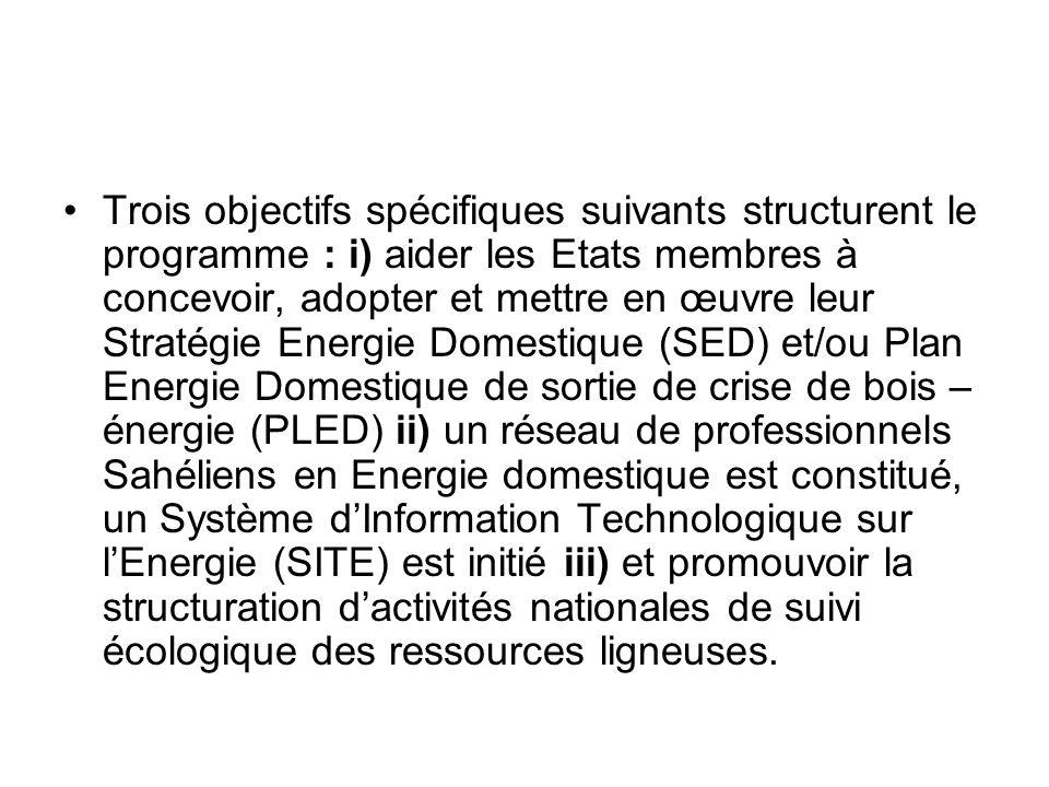 Trois objectifs spécifiques suivants structurent le programme : i) aider les Etats membres à concevoir, adopter et mettre en œuvre leur Stratégie Energie Domestique (SED) et/ou Plan Energie Domestique de sortie de crise de bois – énergie (PLED) ii) un réseau de professionnels Sahéliens en Energie domestique est constitué, un Système d'Information Technologique sur l'Energie (SITE) est initié iii) et promouvoir la structuration d'activités nationales de suivi écologique des ressources ligneuses.