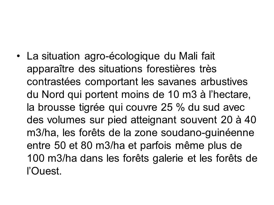 La situation agro-écologique du Mali fait apparaître des situations forestières très contrastées comportant les savanes arbustives du Nord qui portent moins de 10 m3 à l'hectare, la brousse tigrée qui couvre 25 % du sud avec des volumes sur pied atteignant souvent 20 à 40 m3/ha, les forêts de la zone soudano-guinéenne entre 50 et 80 m3/ha et parfois même plus de 100 m3/ha dans les forêts galerie et les forêts de l'Ouest.