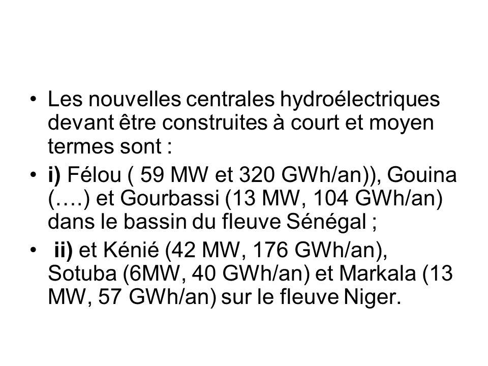 Les nouvelles centrales hydroélectriques devant être construites à court et moyen termes sont :