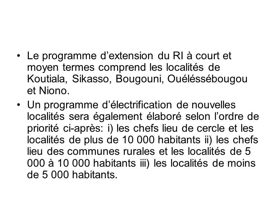 Le programme d'extension du RI à court et moyen termes comprend les localités de Koutiala, Sikasso, Bougouni, Ouéléssébougou et Niono.