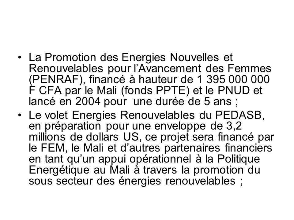 La Promotion des Energies Nouvelles et Renouvelables pour l'Avancement des Femmes (PENRAF), financé à hauteur de 1 395 000 000 F CFA par le Mali (fonds PPTE) et le PNUD et lancé en 2004 pour une durée de 5 ans ;