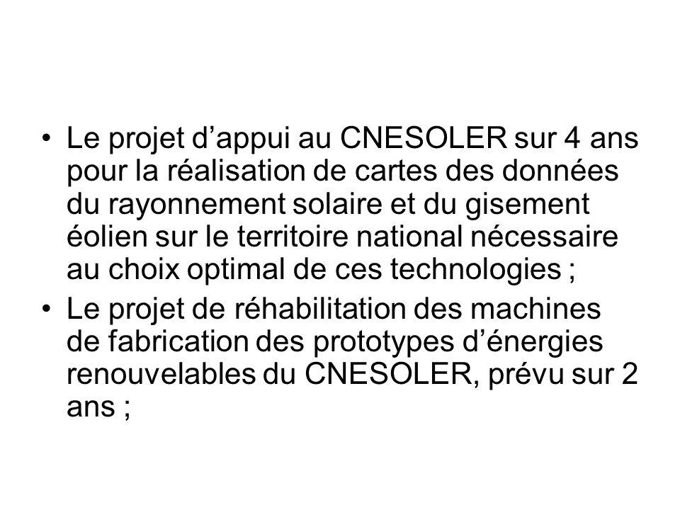Le projet d'appui au CNESOLER sur 4 ans pour la réalisation de cartes des données du rayonnement solaire et du gisement éolien sur le territoire national nécessaire au choix optimal de ces technologies ;