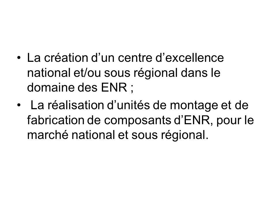 La création d'un centre d'excellence national et/ou sous régional dans le domaine des ENR ;