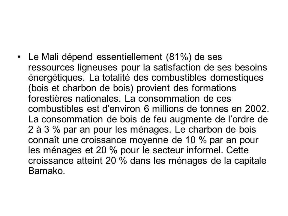 Le Mali dépend essentiellement (81%) de ses ressources ligneuses pour la satisfaction de ses besoins énergétiques.