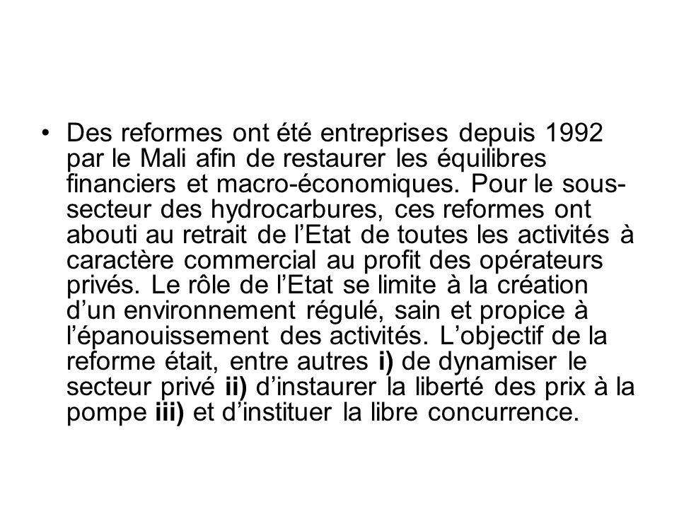 Des reformes ont été entreprises depuis 1992 par le Mali afin de restaurer les équilibres financiers et macro-économiques.