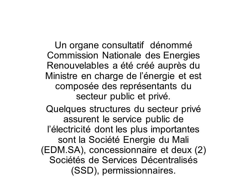 Un organe consultatif dénommé Commission Nationale des Energies Renouvelables a été créé auprès du Ministre en charge de l'énergie et est composée des représentants du secteur public et privé.