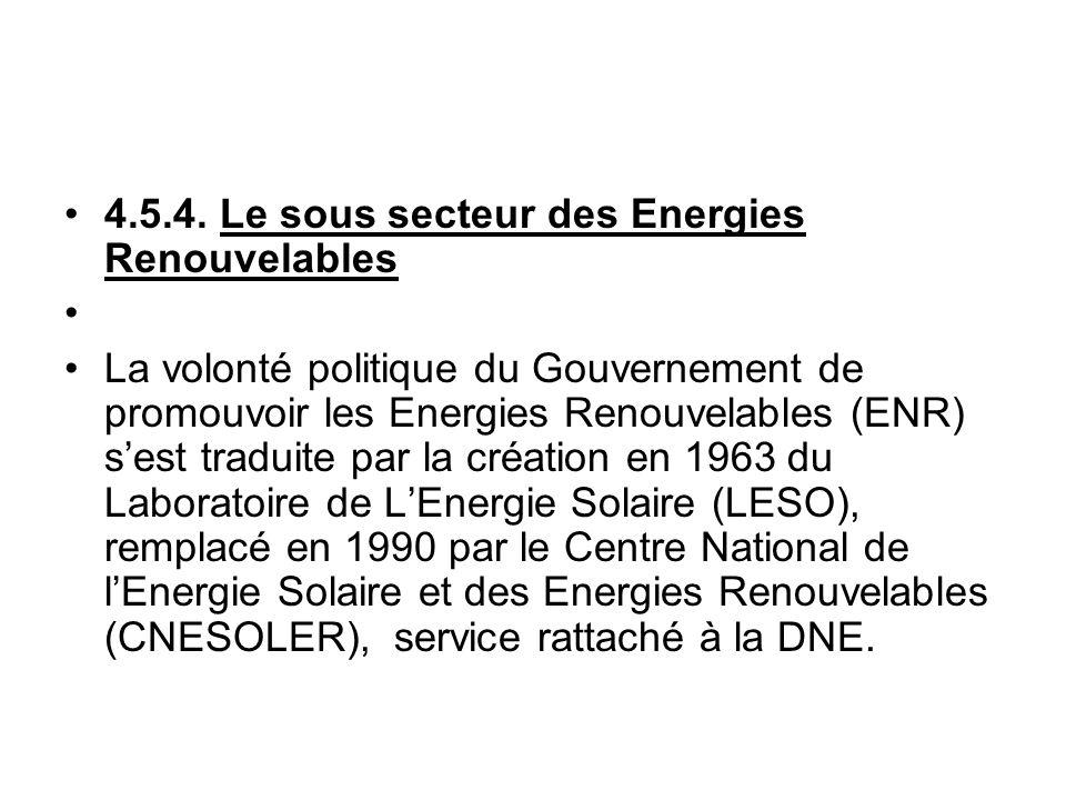 4.5.4. Le sous secteur des Energies Renouvelables