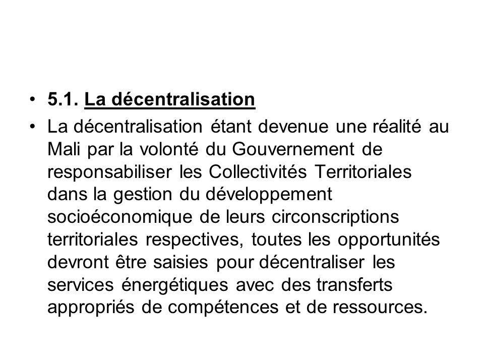 5.1. La décentralisation