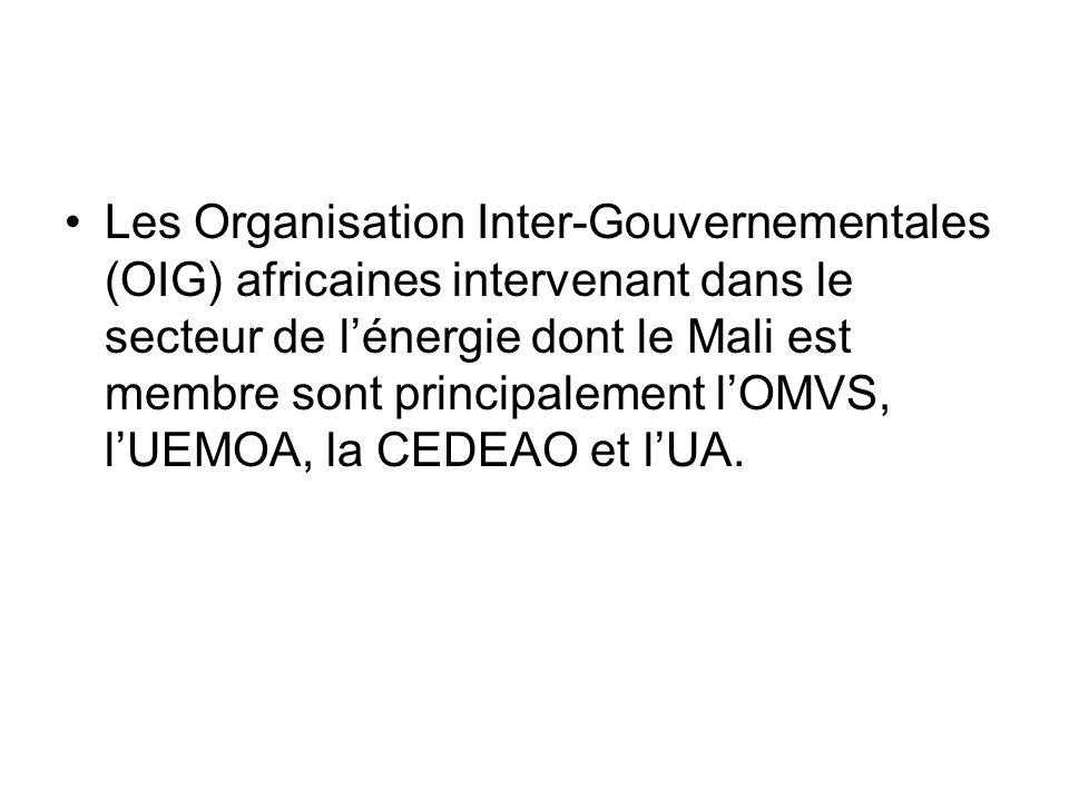 Les Organisation Inter-Gouvernementales (OIG) africaines intervenant dans le secteur de l'énergie dont le Mali est membre sont principalement l'OMVS, l'UEMOA, la CEDEAO et l'UA.