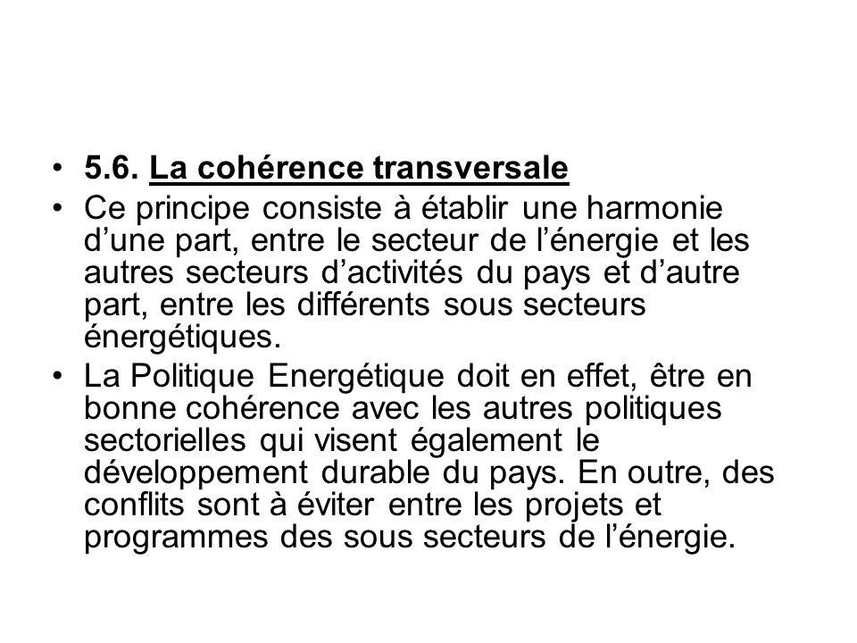 5.6. La cohérence transversale
