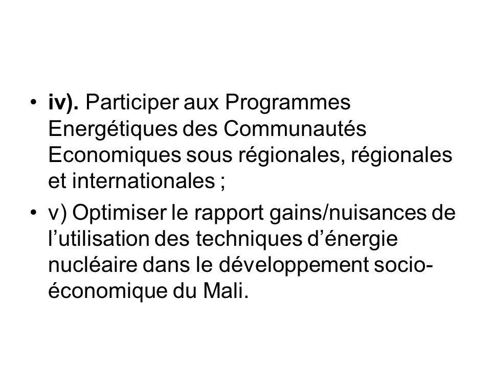 iv). Participer aux Programmes Energétiques des Communautés Economiques sous régionales, régionales et internationales ;