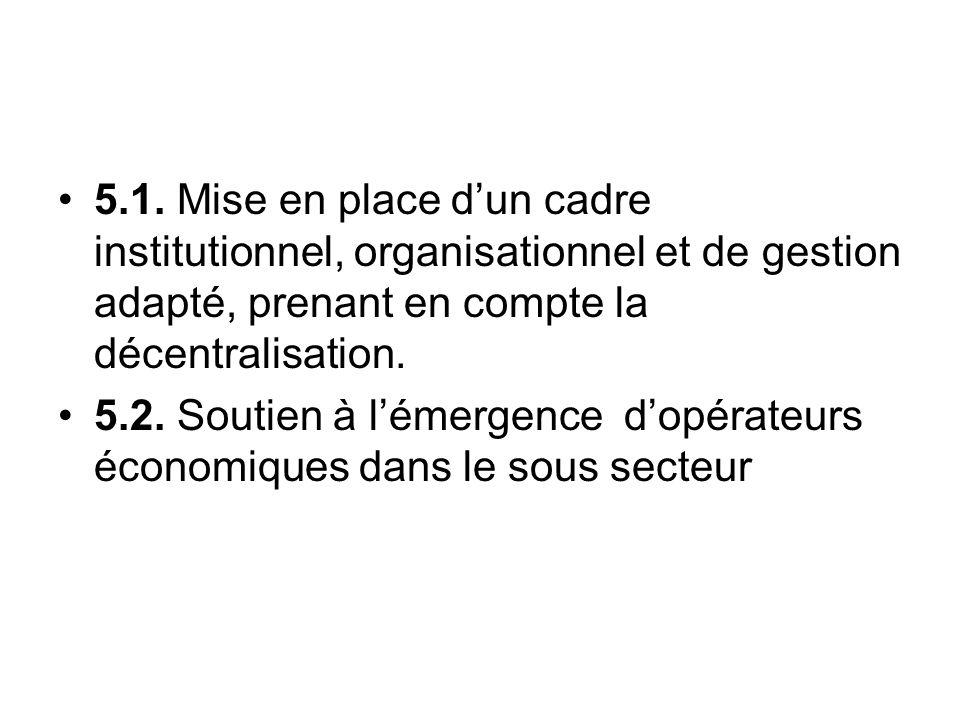 5.1. Mise en place d'un cadre institutionnel, organisationnel et de gestion adapté, prenant en compte la décentralisation.