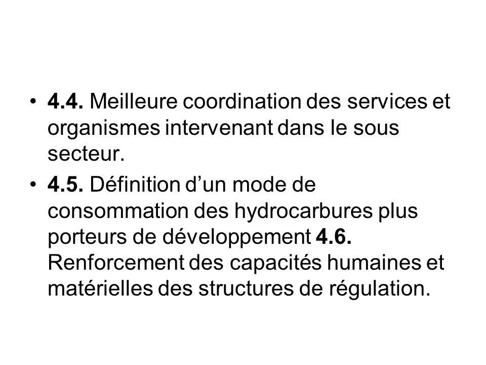 4.4. Meilleure coordination des services et organismes intervenant dans le sous secteur.