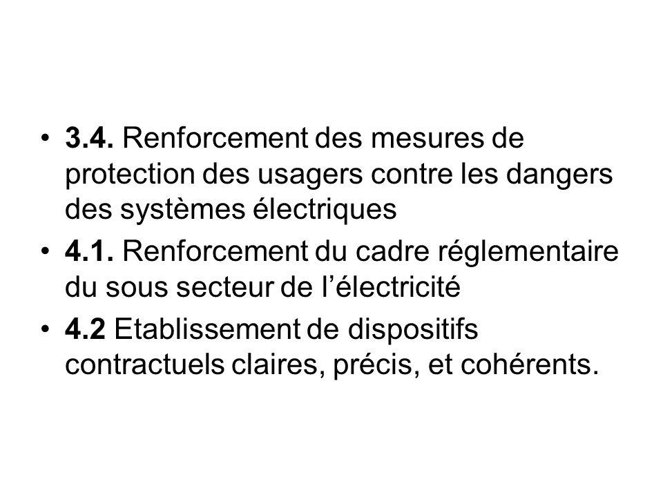 3.4. Renforcement des mesures de protection des usagers contre les dangers des systèmes électriques