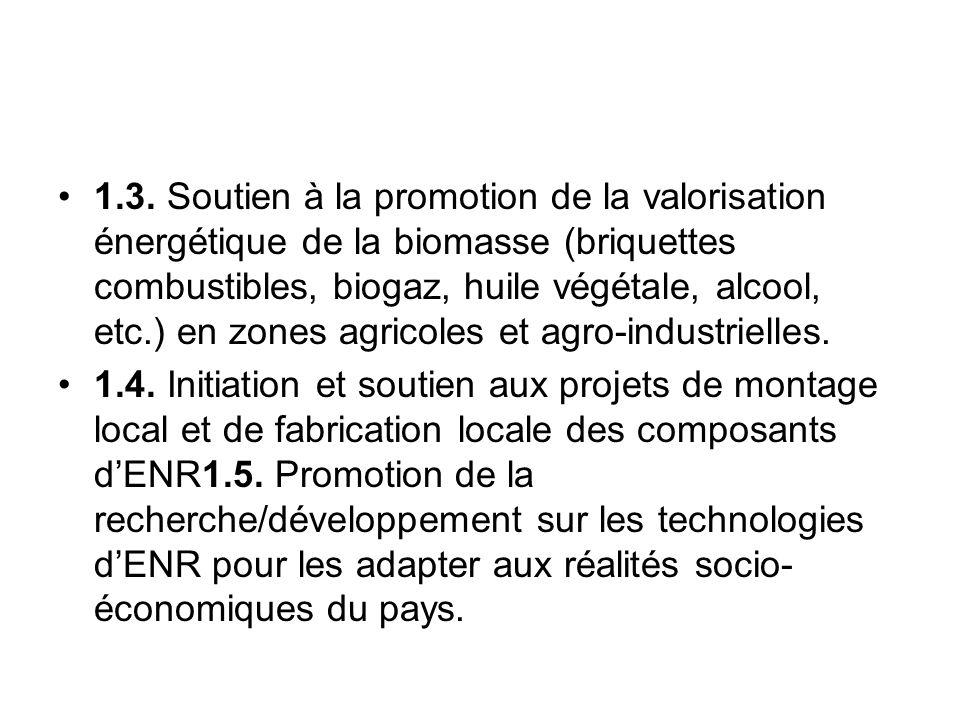 1.3. Soutien à la promotion de la valorisation énergétique de la biomasse (briquettes combustibles, biogaz, huile végétale, alcool, etc.) en zones agricoles et agro-industrielles.