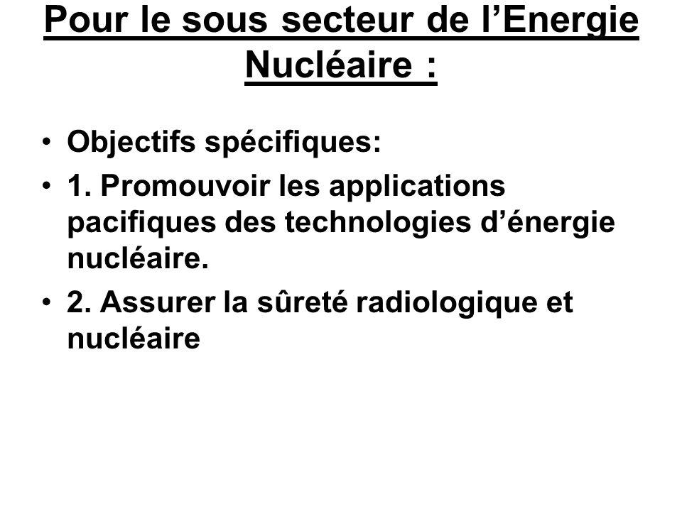 Pour le sous secteur de l'Energie Nucléaire :