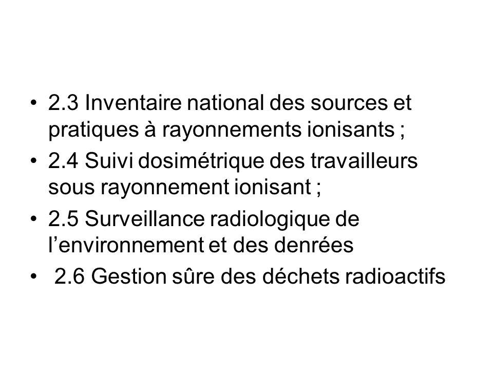 2.3 Inventaire national des sources et pratiques à rayonnements ionisants ;