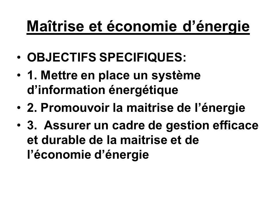 Maîtrise et économie d'énergie