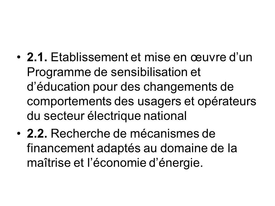 2.1. Etablissement et mise en œuvre d'un Programme de sensibilisation et d'éducation pour des changements de comportements des usagers et opérateurs du secteur électrique national