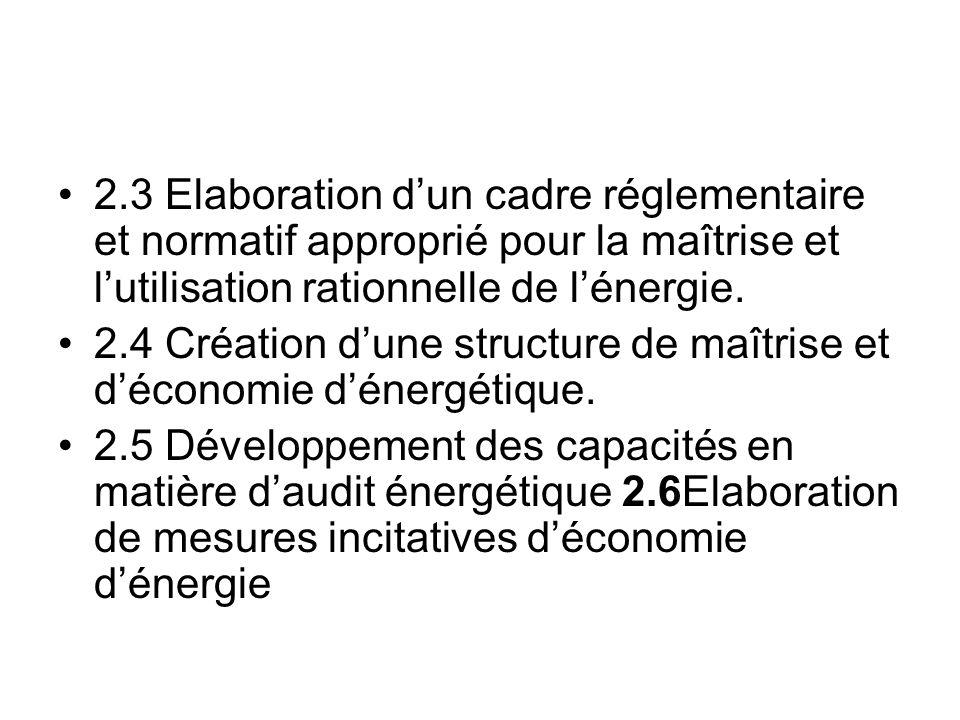 2.3 Elaboration d'un cadre réglementaire et normatif approprié pour la maîtrise et l'utilisation rationnelle de l'énergie.