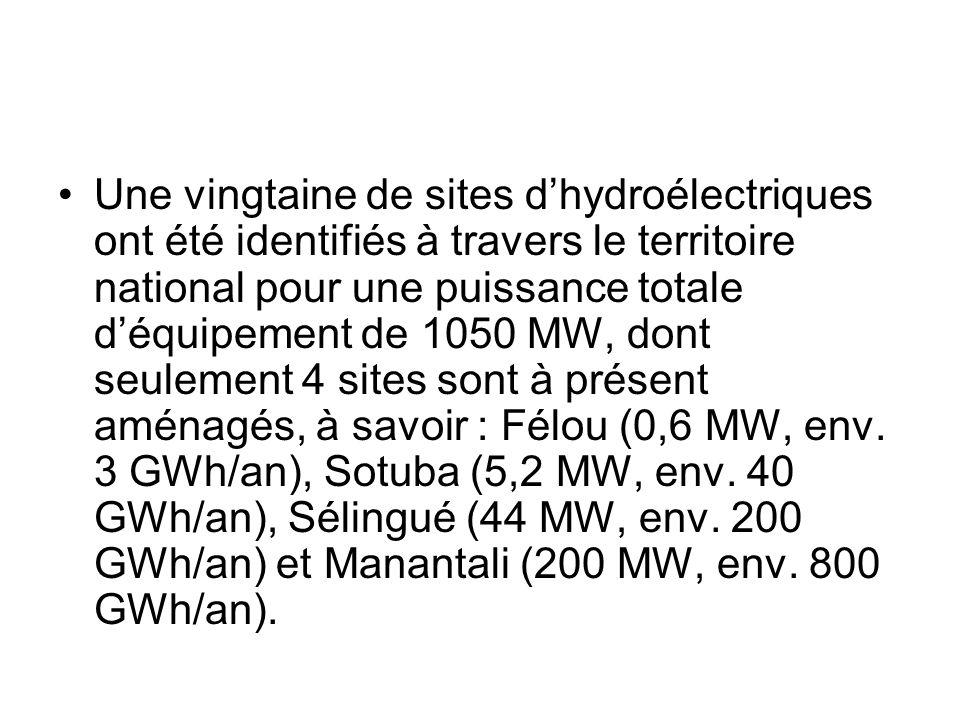 Une vingtaine de sites d'hydroélectriques ont été identifiés à travers le territoire national pour une puissance totale d'équipement de 1050 MW, dont seulement 4 sites sont à présent aménagés, à savoir : Félou (0,6 MW, env.