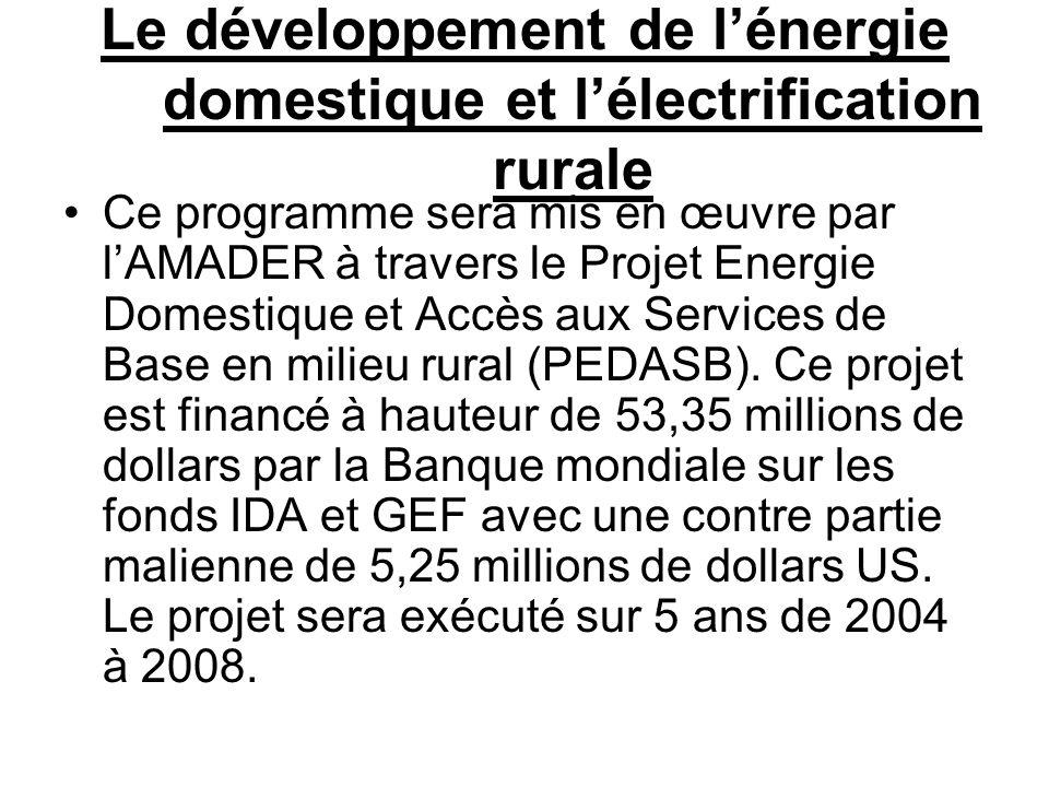 Le développement de l'énergie domestique et l'électrification rurale