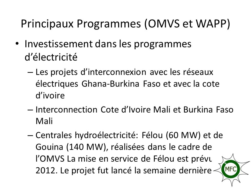 Principaux Programmes (OMVS et WAPP)