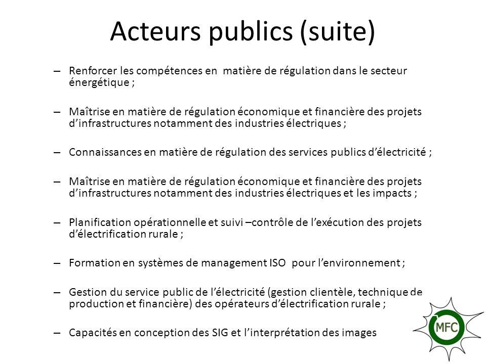 Acteurs publics (suite)
