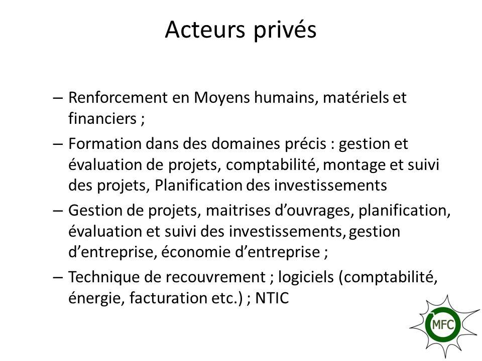 Acteurs privés Renforcement en Moyens humains, matériels et financiers ;