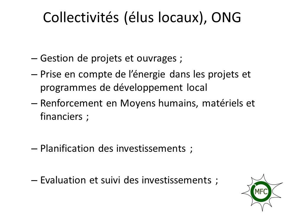 Collectivités (élus locaux), ONG