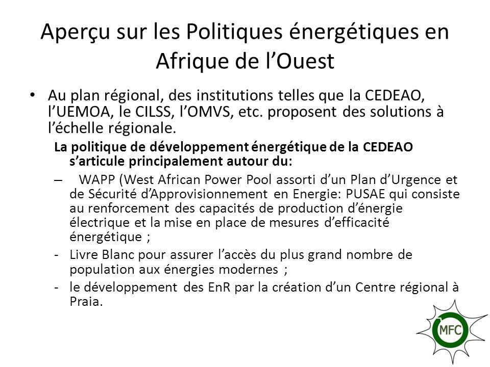 Aperçu sur les Politiques énergétiques en Afrique de l'Ouest