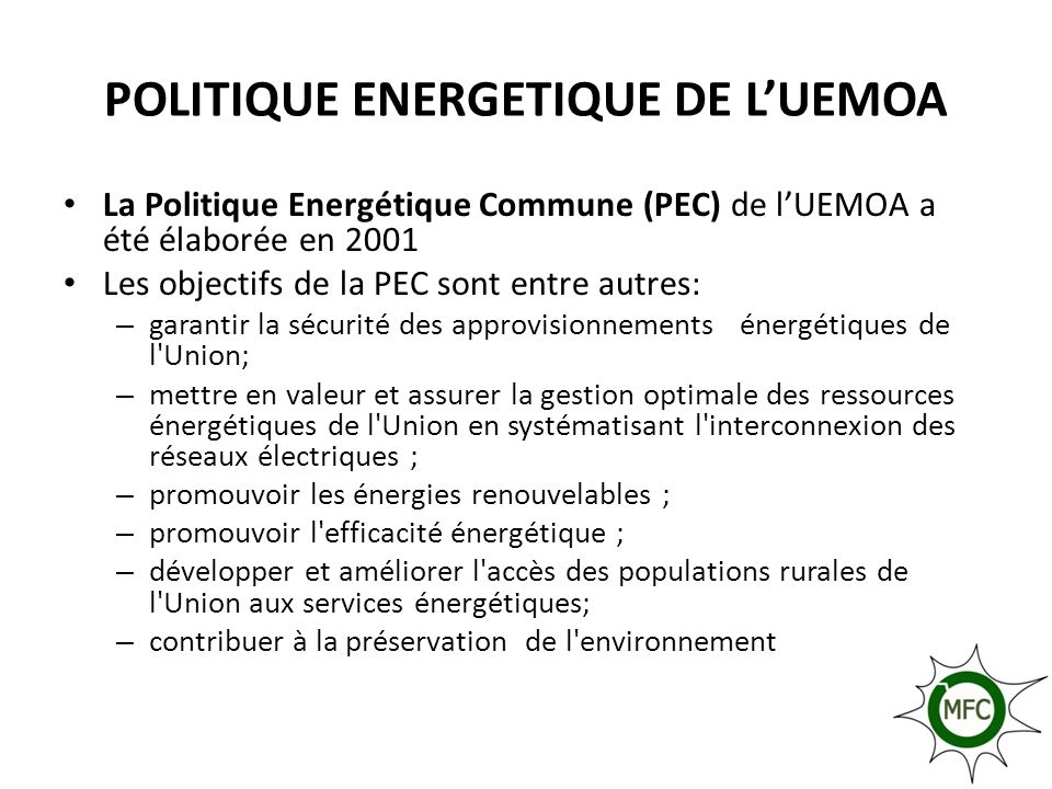 POLITIQUE ENERGETIQUE DE L'UEMOA
