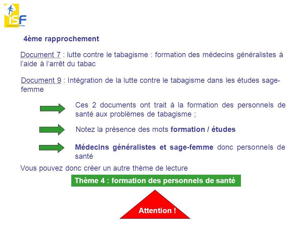 4ème rapprochement Document 7 : lutte contre le tabagisme : formation des médecins généralistes à l'aide à l'arrêt du tabac.
