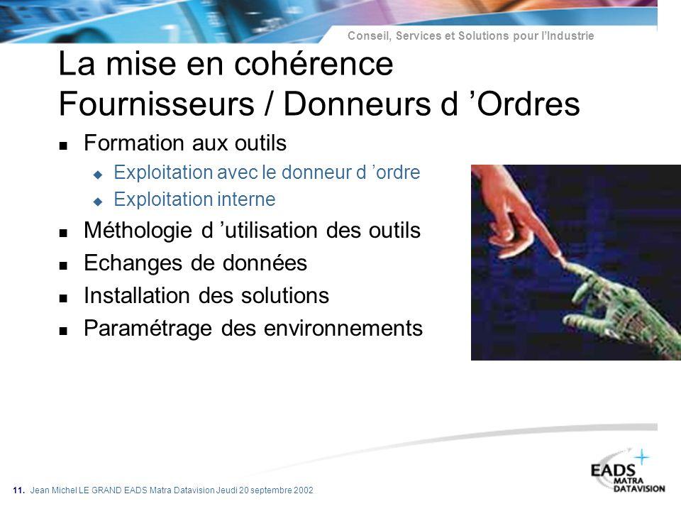 La mise en cohérence Fournisseurs / Donneurs d 'Ordres