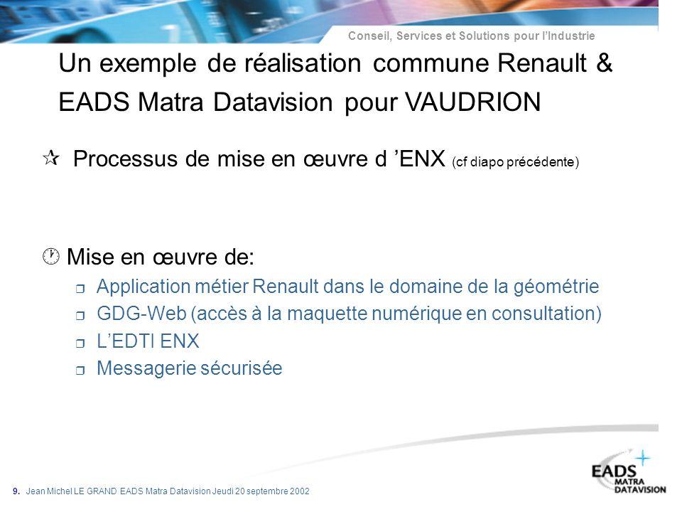 Un exemple de réalisation commune Renault & EADS Matra Datavision pour VAUDRION
