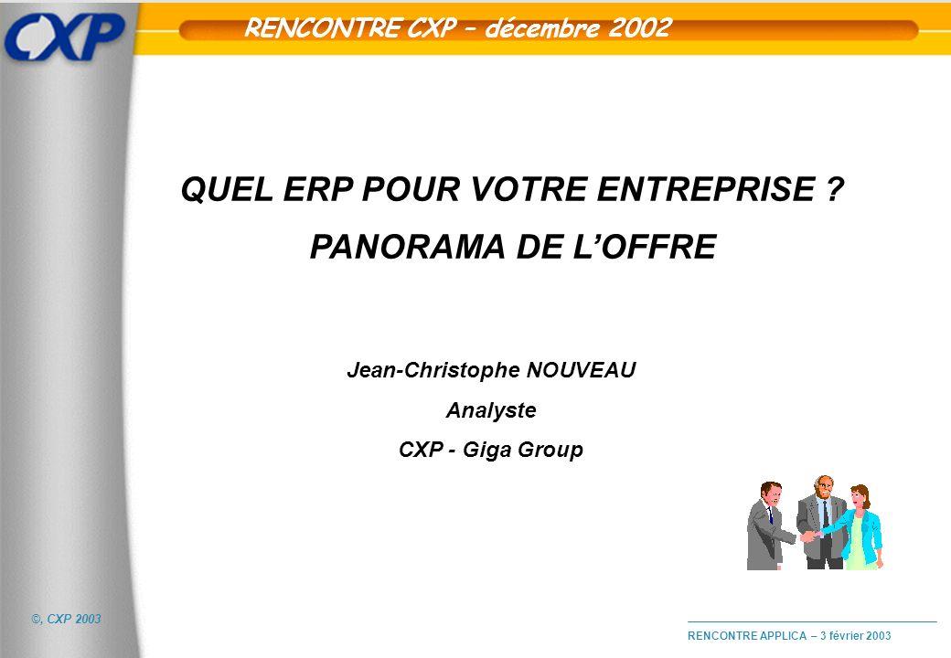 RENCONTRE CXP – décembre 2002