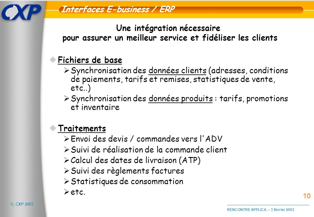 Interfaces E-business / ERP