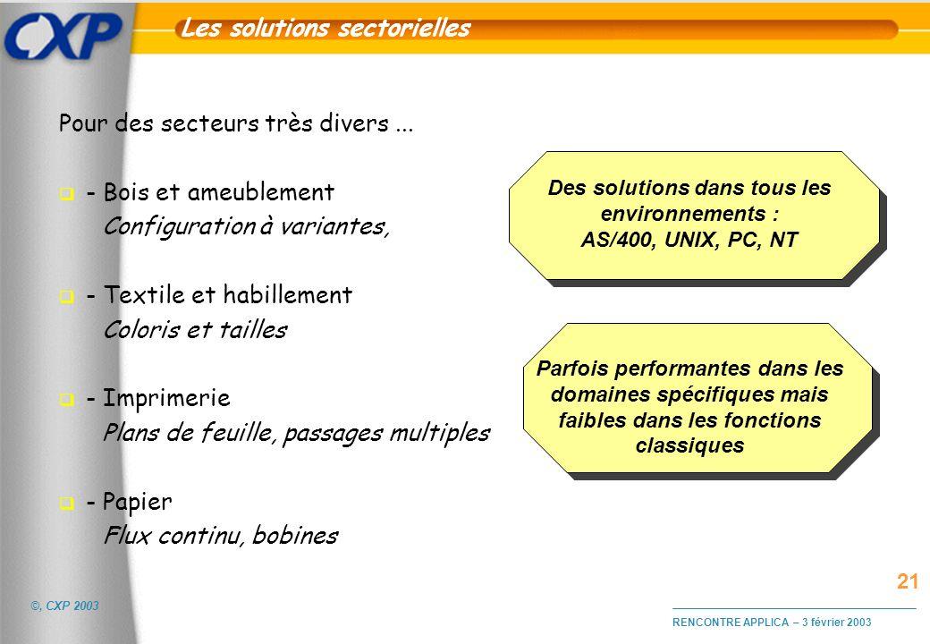 Les solutions sectorielles