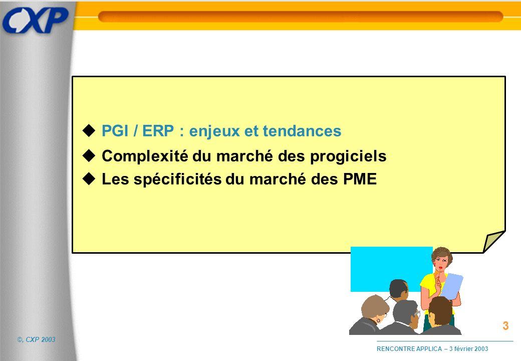 PGI / ERP : enjeux et tendances Complexité du marché des progiciels