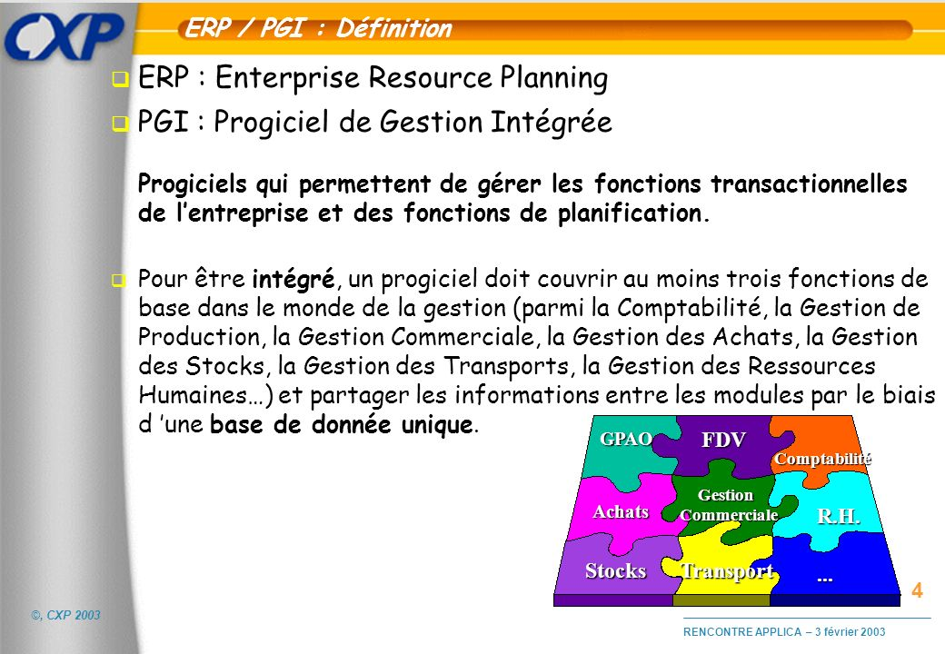 ERP : Enterprise Resource Planning