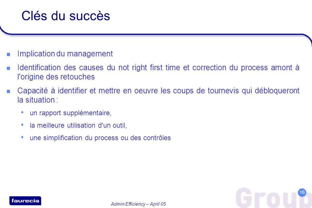 Clés du succès Implication du management
