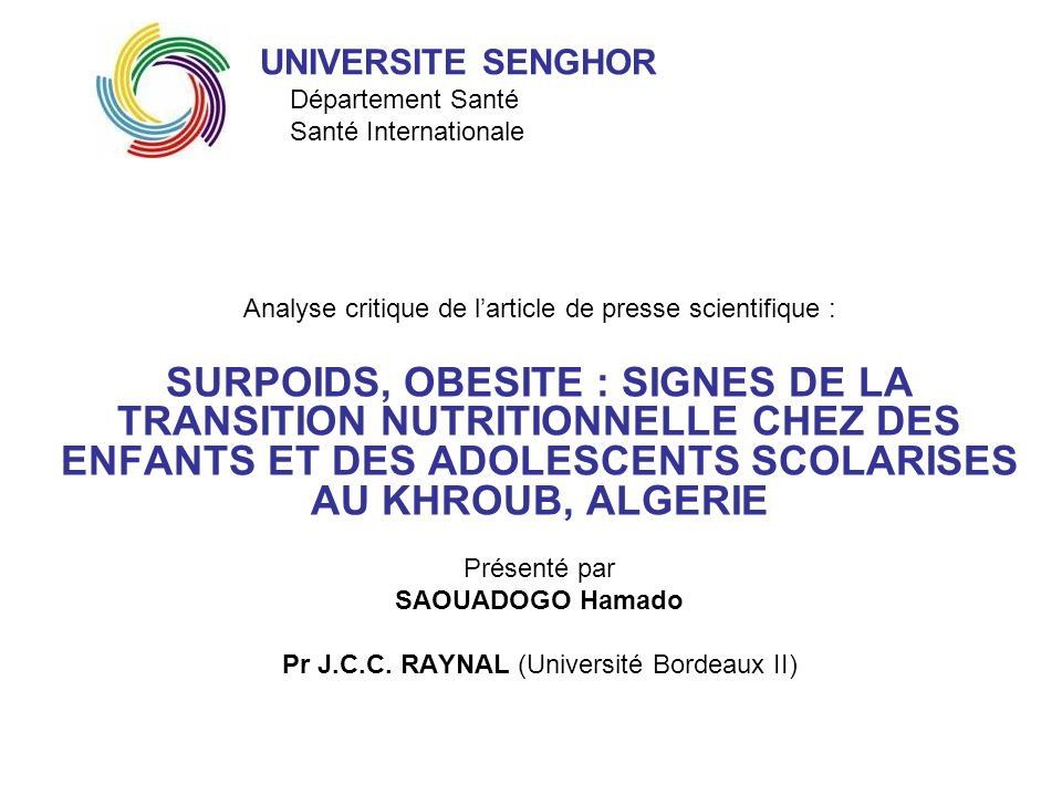 UNIVERSITE SENGHOR Département Santé Santé Internationale