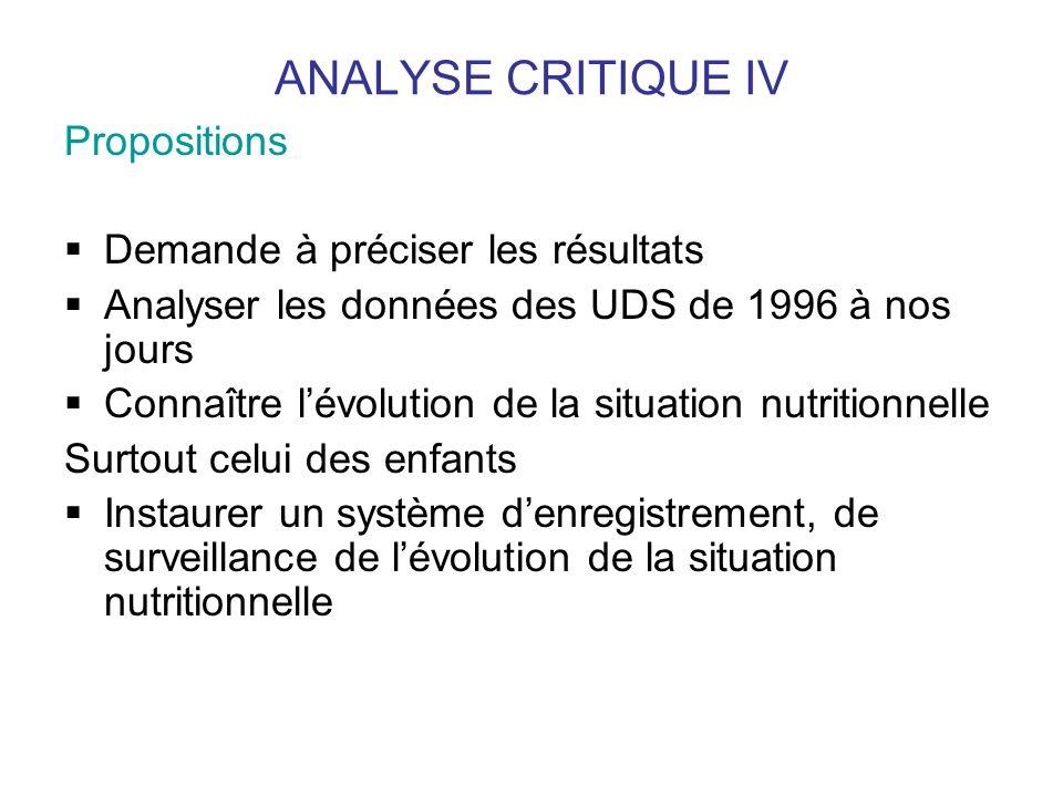 ANALYSE CRITIQUE IV Propositions Demande à préciser les résultats