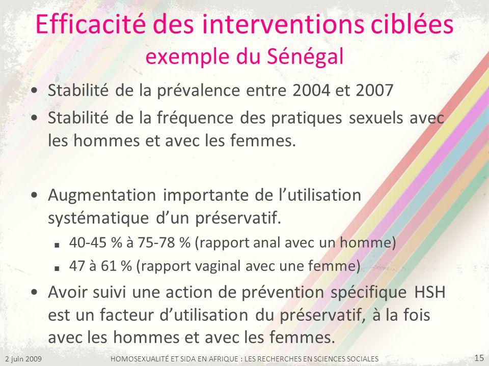 Efficacité des interventions ciblées exemple du Sénégal