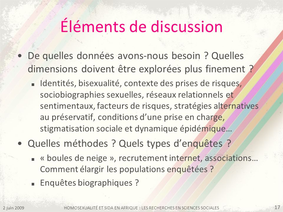 Éléments de discussion