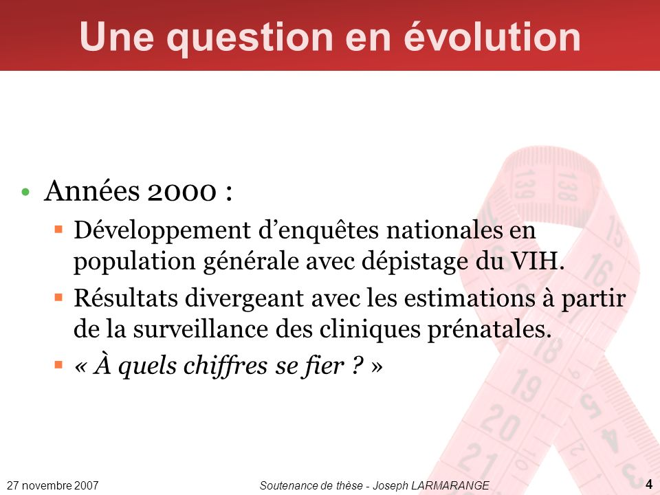 Une question en évolution