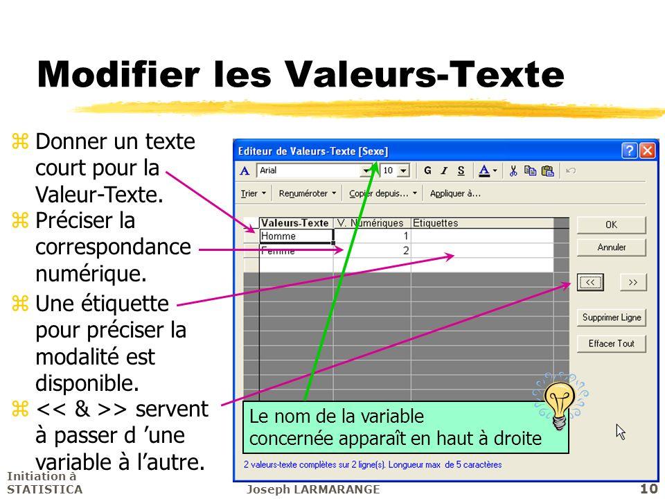 Modifier les Valeurs-Texte