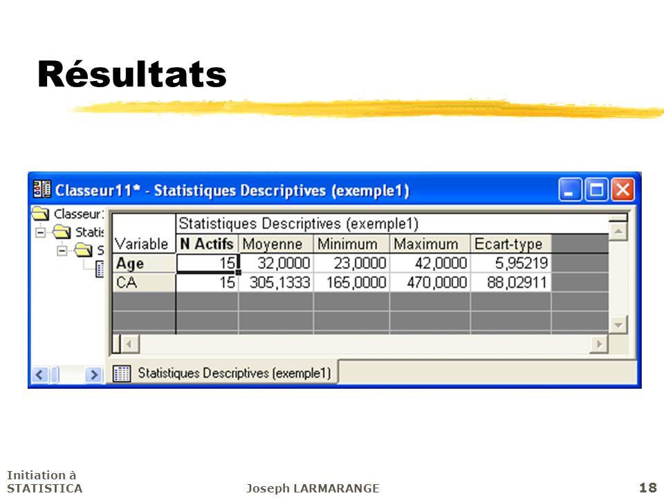 Résultats Initiation à STATISTICA Joseph LARMARANGE