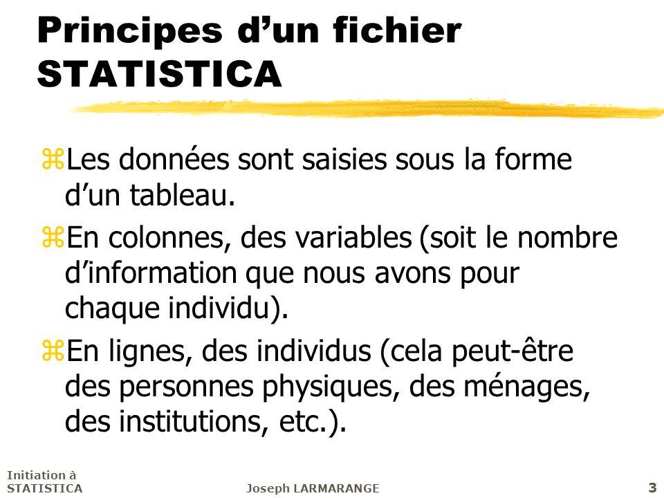 Principes d'un fichier STATISTICA